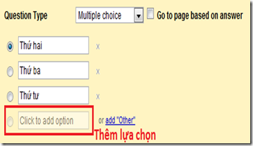 Giao diện của Multic choice