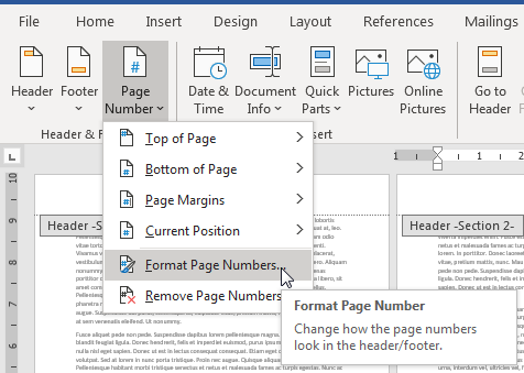 tại Page Number chọn Format Page Number…